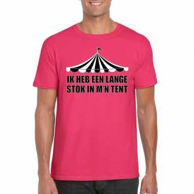 Toppers ik heb een lange stok m'n tent t shirt roze heren carnavalskl