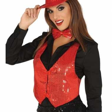 Toppers pailletten gilet rood dames carnavalskleding den bosch
