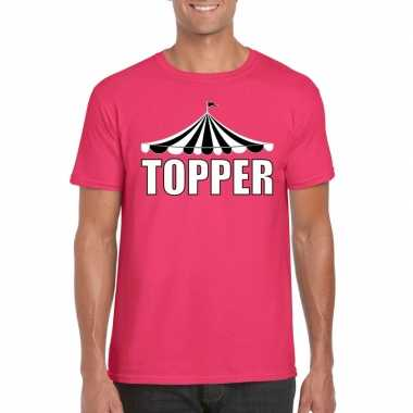 Toppers pretty pink shirt topper witte letters heren carnavalskleding