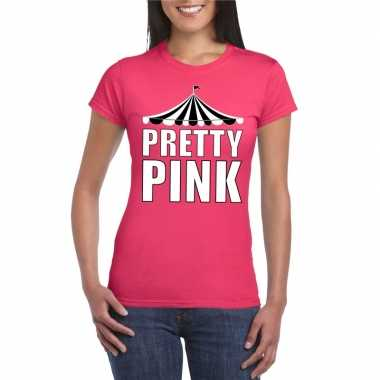 Toppers pretty pink t shirt roze witte letters dames carnavalskleding