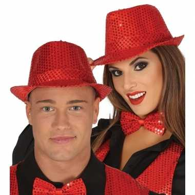 Toppers verkleed hoed/trilby pailletten rood volwassenen carnavalskle