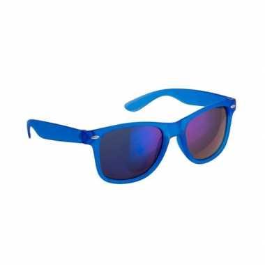 Carnavalskleding trendy zonnebrillen blauw spiegelglas