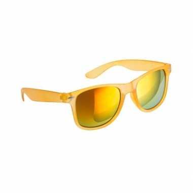 Trendy zonnebrillen geel spiegelglas carnavalskleding Den Bosch