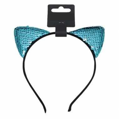 Turquoise blauwe katten/poezen oortjes verkleed diadeem meisjes carna