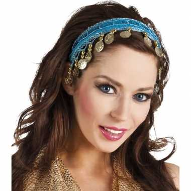 Turquoise blauwe verkleed/feest buikdanseressen hoofdband/diadeem dam