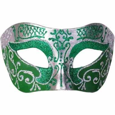 Venetiaans masker glitter groen/zilver carnavalskleding den bosch