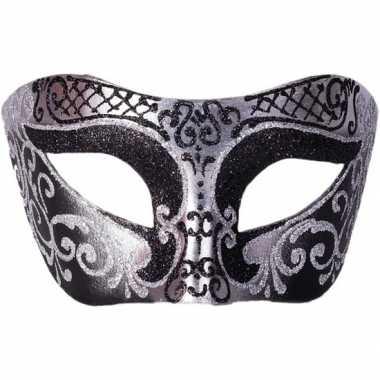 Venetiaans masker glitter zwart/zilver carnavalskleding den bosch