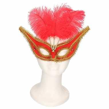 Venetiaanse oogmaskers rood/goud volwassenen carnavalskleding den bos