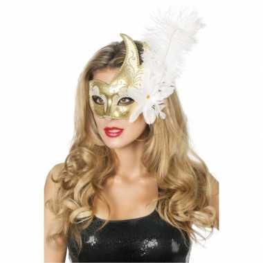 Venetiaanse oogmaskers wit/goud veer carnavalskleding Den Bosch