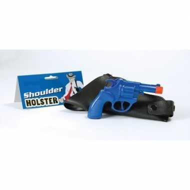 Carnavalskleding verkleed detective revolver blauw schouder holster