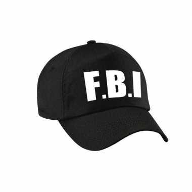 Verkleed fbi agent pet / cap zwart dames heren carnavalskleding den b