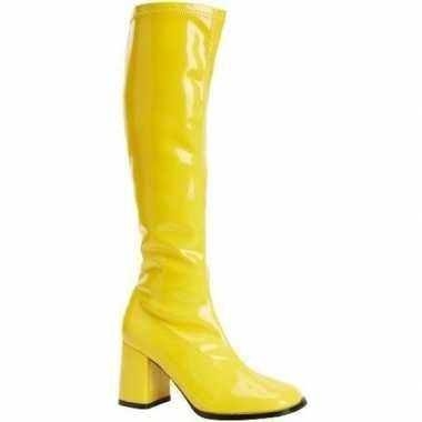 Verkleed gele kuitlaarzen blokhakken dames carnavalskleding den bosch
