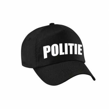 Verkleed politie agent pet / cap zwart dames heren carnavalskleding d