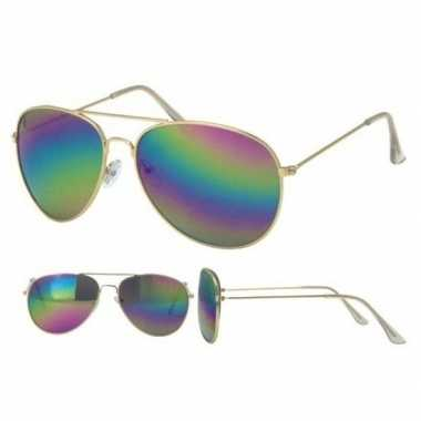 Verkleed politie/agenten zonnebril goud volwassenen carnavalskleding