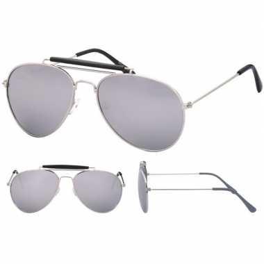 Verkleed politie/agenten zonnebril zilver volwassenen carnavalskledin