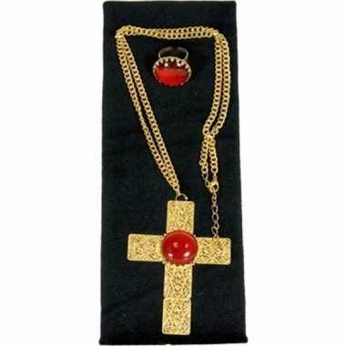Verkleed sinterklaas ketting ring set goud/rood kruis heren/volwassen