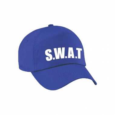 Verkleed swat politie agent pet / cap blauw dames heren carnavalskleding den bosch