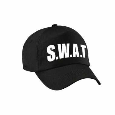 Verkleed swat politie agent pet / cap zwart dames heren carnavalskled