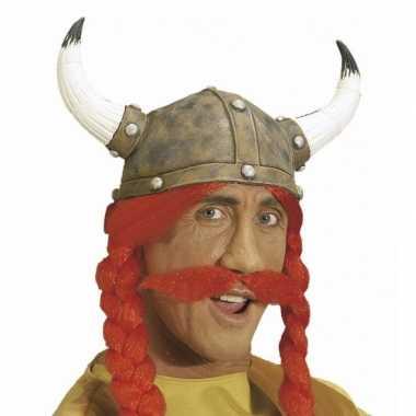 Carnavalskleding vikingen snor rood