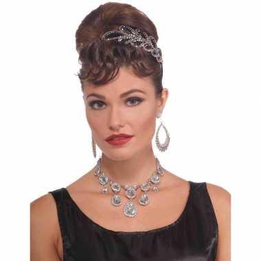 Vintage gala ketting verkleedaccessoire namaak diamanten dames carnav