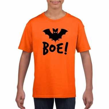 Vleermuis halloween t shirt oranje jongens meisjes carnavalskleding d