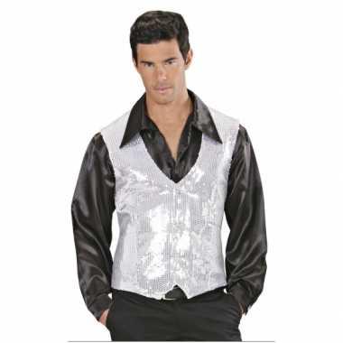 Carnavalskleding wit zilver pailletten vestje heren