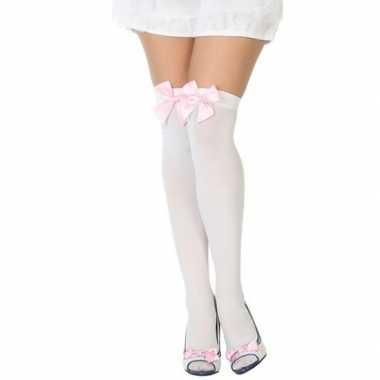 Witte kniekousen lichtroze strikje dames carnavalskleding den bosch