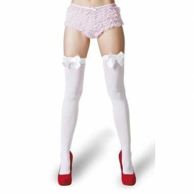 Witte kousen strik dames carnavalskleding den bosch