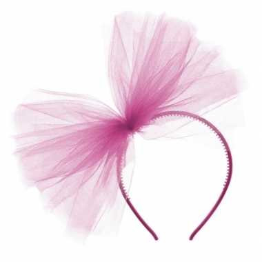 X fuchsia roze tule haarband/diadeem carnavalskleding den bosch