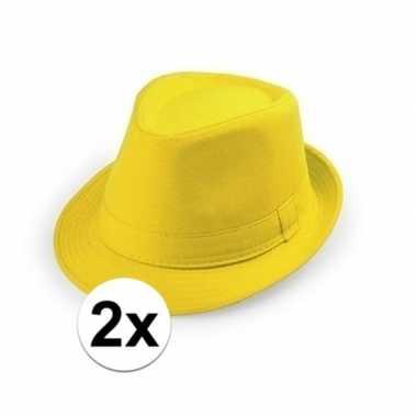 X geel hoedje trilby model volwassenen carnavalskleding den bosch
