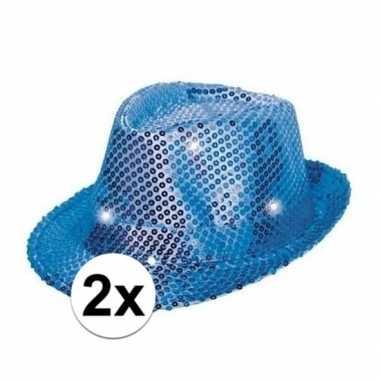 X glitter hoeden blauw led verlichting carnavalskleding bosch