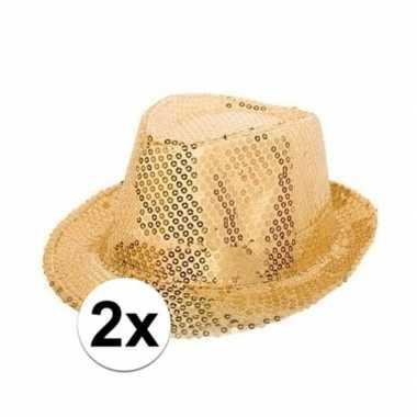 X gouden glitter hoedjes pailletten carnavalskleding bosch
