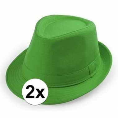 X groen hoedje trilby model volwassenen carnavalskleding den bosch