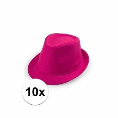 X roze toppers hoedje trilby model volwassenen carnavalskleding den b