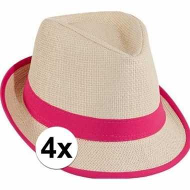 X roze trilby toppers hoed carnavalskleding den bosch