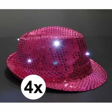 X toppers glitter hoedjes roze led verlichting carnavalskleding den b