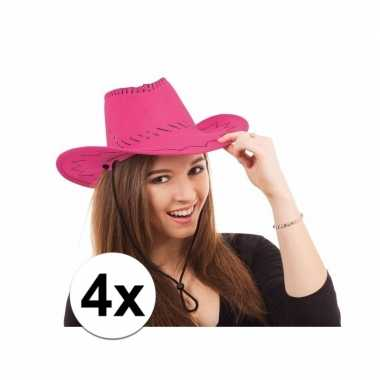 X toppers roze cowboy hoeden carnavalskleding bosch