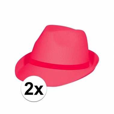 X toppers tribly hoeden neon roze carnavalskleding bosch