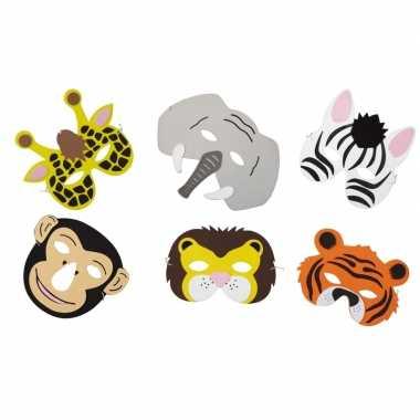 X verkleed/feest safaridieren maskers foam jongens/meisjes/kinderen c