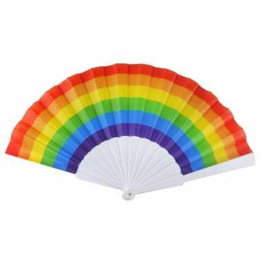 X zomerse spaanse waaiers regenboog/pride vlag carnavalskleding den bosch