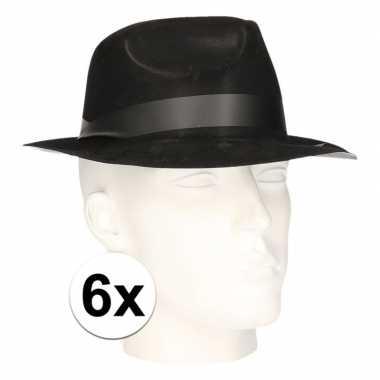 X zwart verkleed hoedjes trilby model volwassenen carnavalskleding de