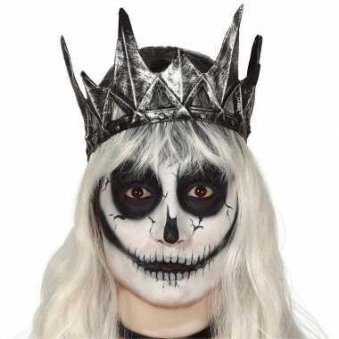 Zilveren horror koning/koninginnen kroon carnavalskleding den bosch