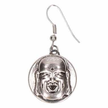 Zilveren metalen oorbellen boeddha chunk carnavalskleding den bosch
