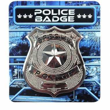 Zilveren politie badge accessoires carnavalskleding den bosch