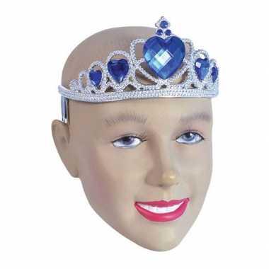 Carnavalskleding zilveren tiara blauwe steentjes