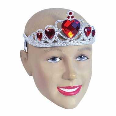 Zilveren tiara rode steentjes carnavalskleding Den Bosch