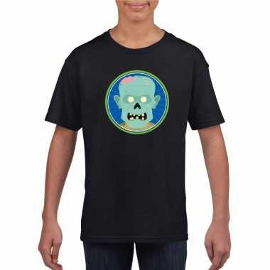 Zombie halloween t shirt zwart jongens meisjes carnavalskleding den b