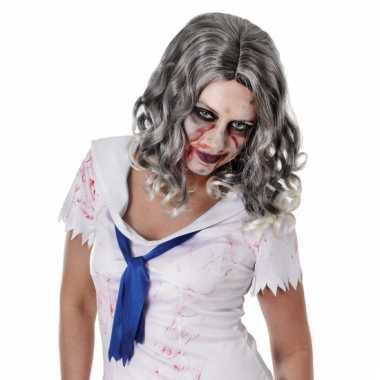 Carnavalskleding zombie pruik krullende grijze haren