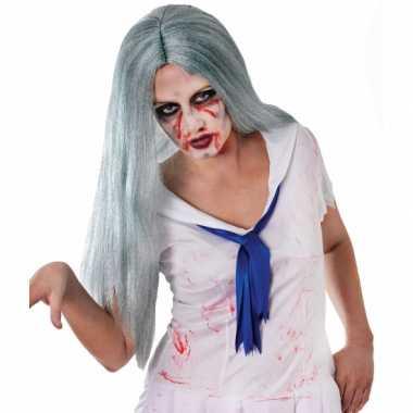 Carnavalskleding zombie pruik lange grijze haren