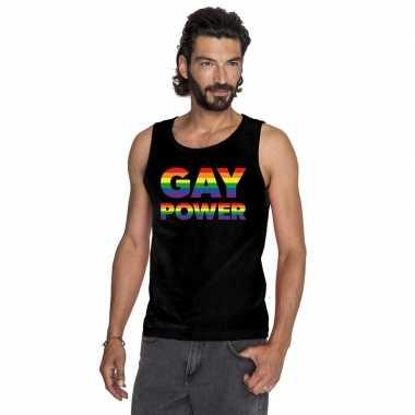Zwart gay power pride tanktop / mouwloos shirt heren carnavalskleding